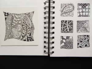 Sketchbook pages showing Mooka Zentangle practice, Poke Root, Flux etc.